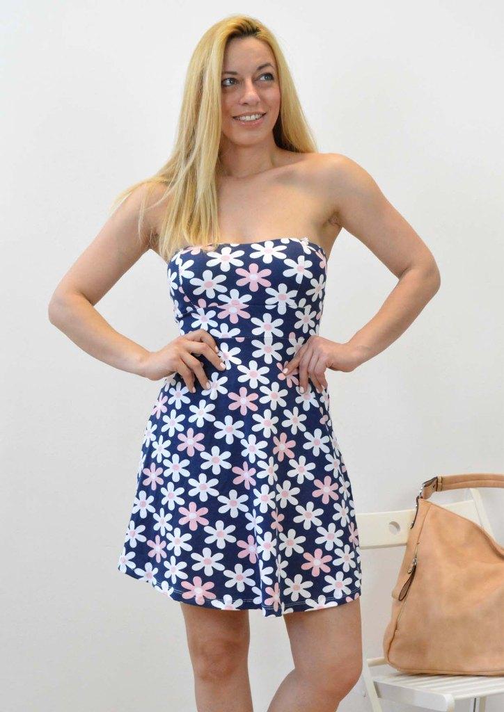 Φόρεμα strapless με λουλούδια  71f0aabd264