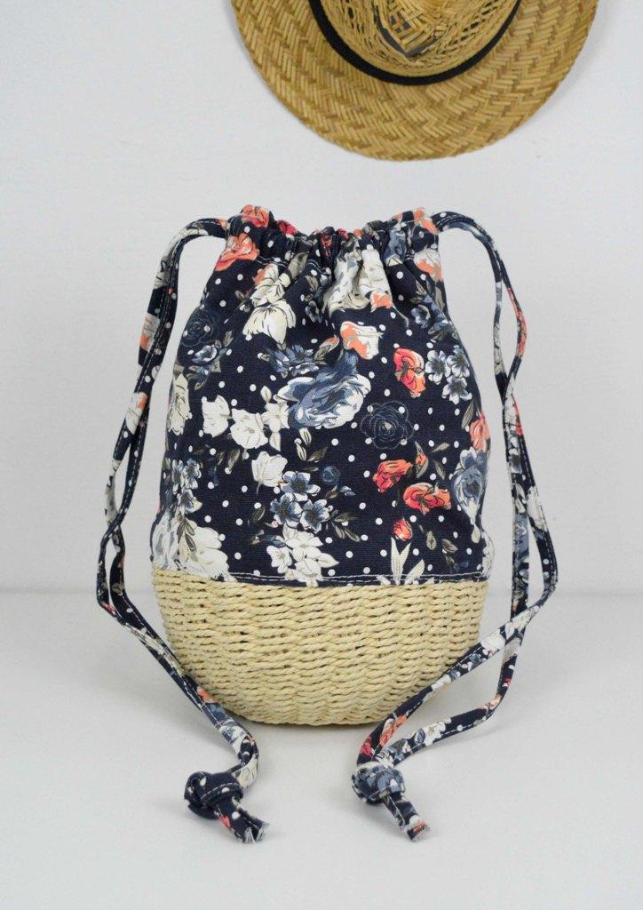 τσαντα-πουγκι-ψαθινη-λουλουδια